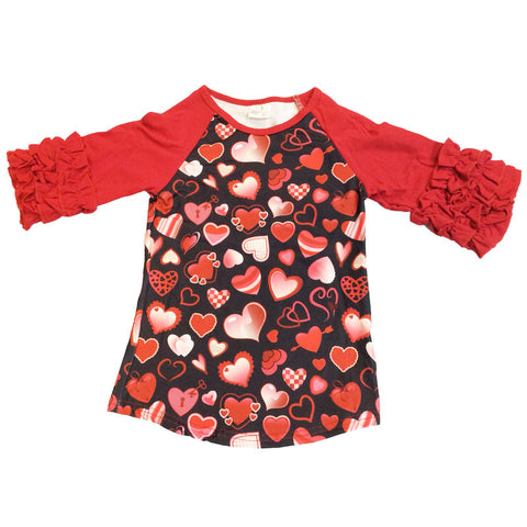 Valentines Heart Shirt Red Ruffle