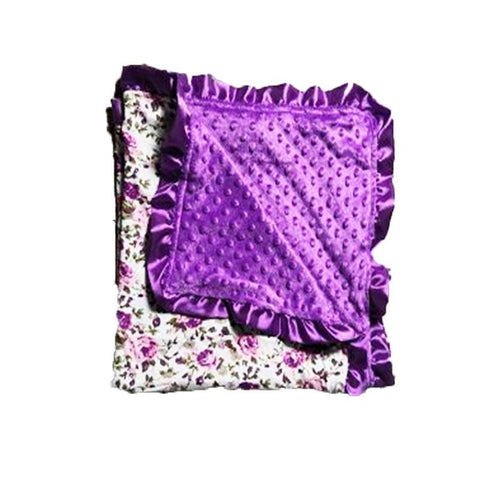 Vintage Rose Purple Minky Blanket