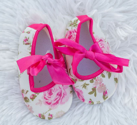 Vintage Rose Satin Bow Shoes