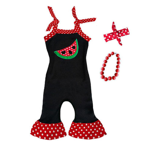 Watermelon Black Romper Red Polka Dot Ruffle