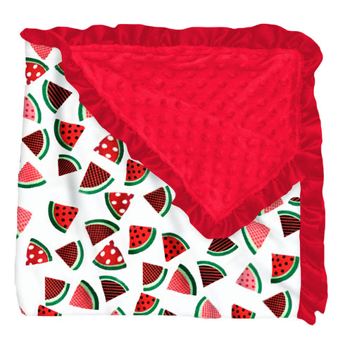 Watermelon Polka Red Minky Blanket