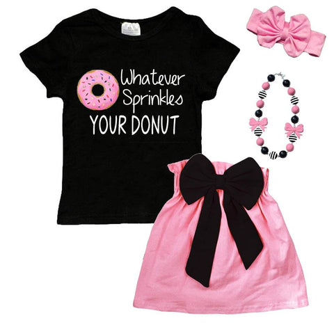 Whatever Sprinkles Your Donut Outfit Black Pink Bow Top And Skirt