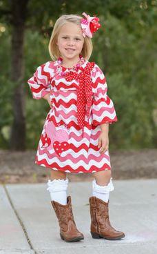 Wavy Heart Peasant Dress