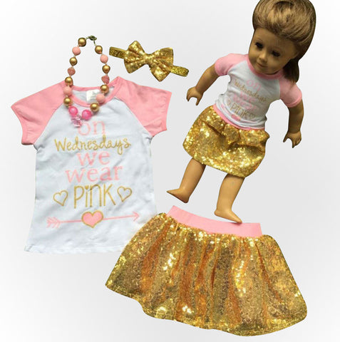 Wear Pink Gold Sequin Skirt Set