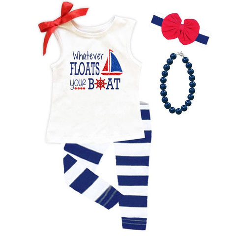 Whatever Floats Your Boat Tank Top White Red Bow