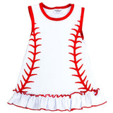 White Baseball Dress Red Ruffle