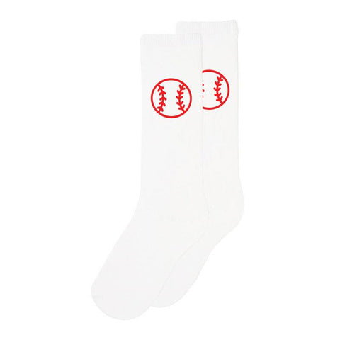 White Baseball Laces Long Socks