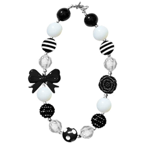 White Black Bow Flower Necklace