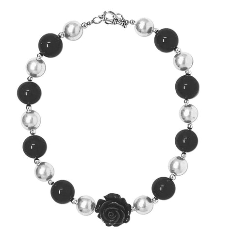 White Black Flower Necklace