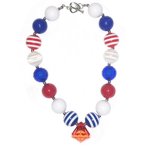 White Blue Red Diamond Necklace Chunky Gumball
