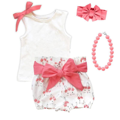 White Bunny Floral Coral Pink Outfit Bow Tank And Shorts