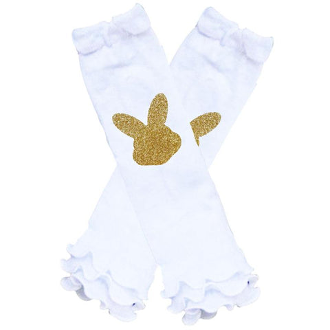 White Gold Bunny Leg Warmers Sparkle