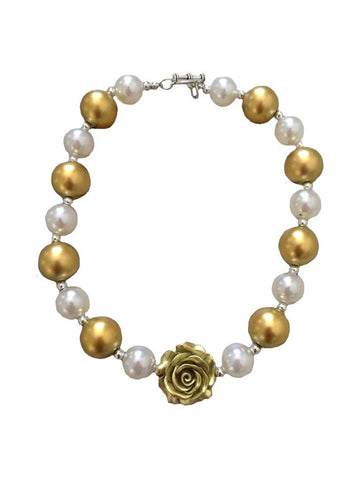 White Gold Flower Necklace Chunky Gumball