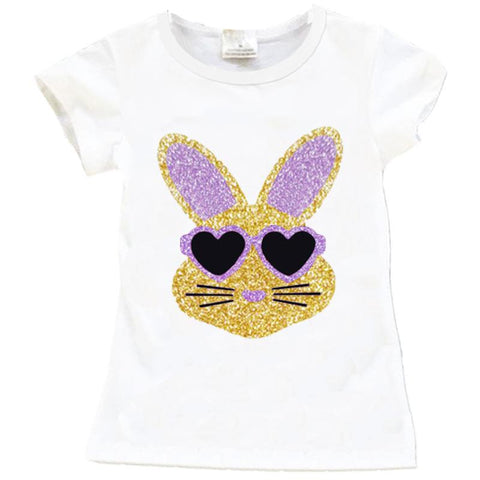 White Gold Lavender Bunny Shirt Sparkle Glasses Purple
