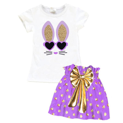 White Gold Purple Bunny Top And Skirt Sparkle Glasses