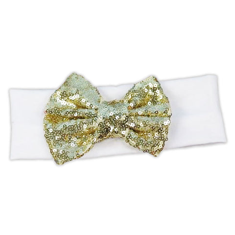 White Gold Sequin Bow Head Wrap