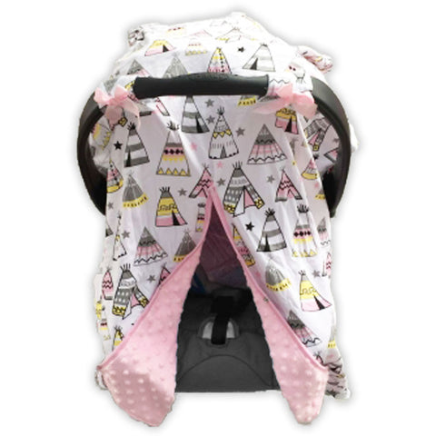 White Gray Teepee Pink Minky Car Seat Canopy