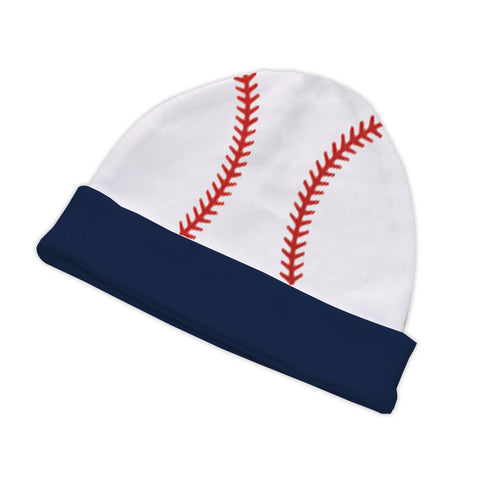 White Navy Baseball Beenie Hat
