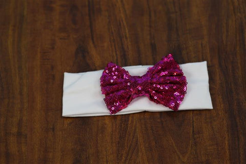 White Pink Sequin Bow Head Wrap