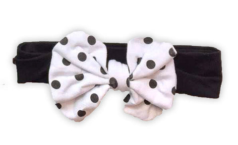 White Polka Messy Bow Black Headband