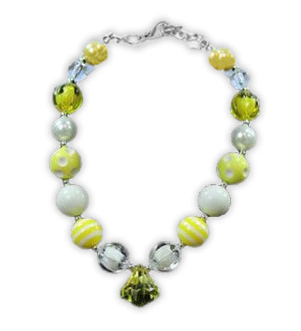 White Polka Yellow Diamond Necklace