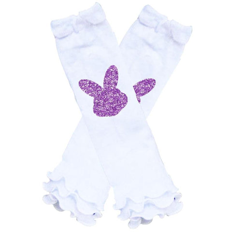 White Purple Bunny Leg Warmers Sparkle