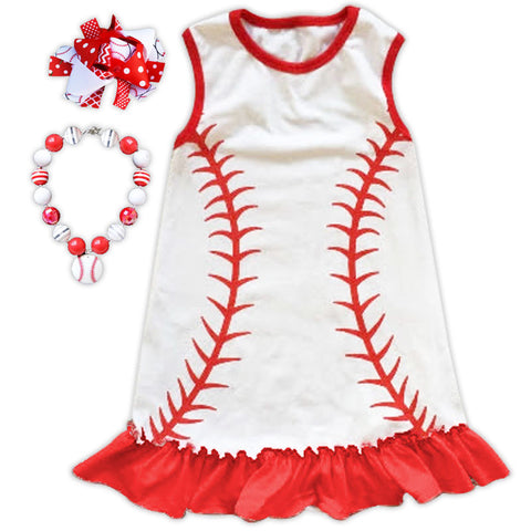 White Red Baseball Ruffle Dress
