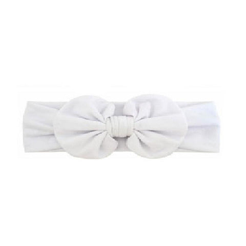 White Ruffle Bow Headband