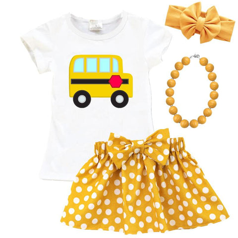 White School Bus Shirt Yellow