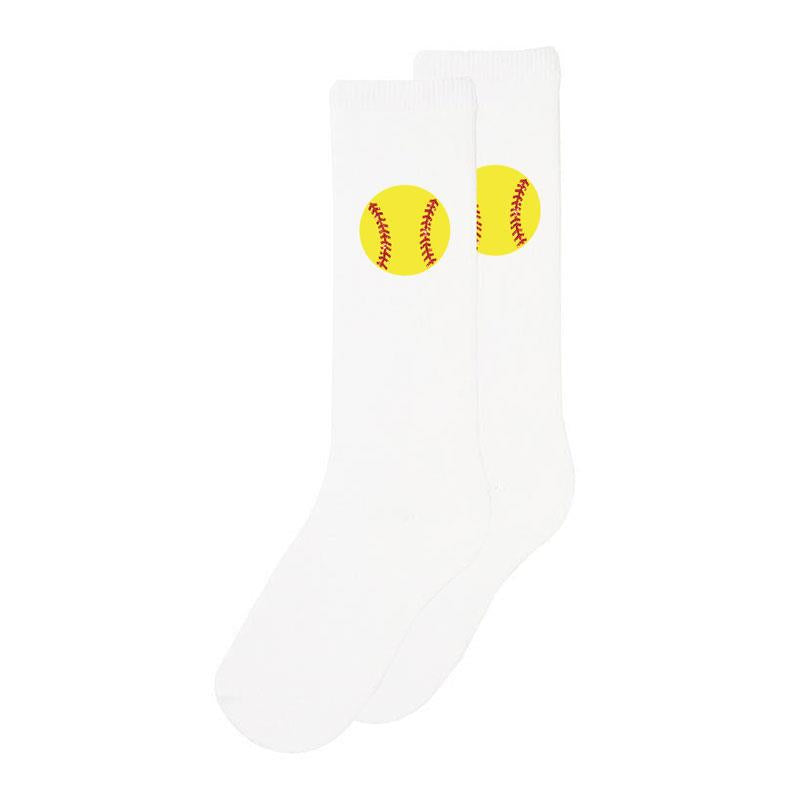 White Softball Laces Long Socks