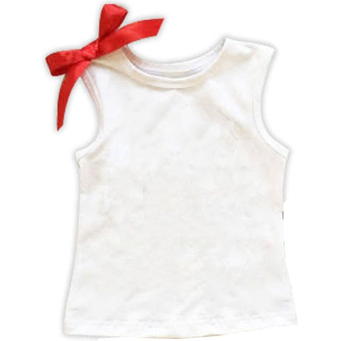 White Tank Top Shirt Red Bow
