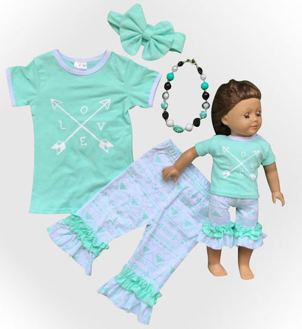 White Teal Aztec Love Capri Set