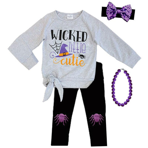 Wicked Little Cutie Outfit Spider Gray Black Top And Pants