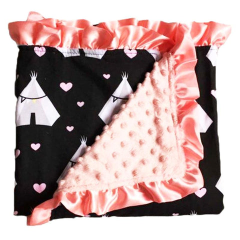 Wild Child Teepee Coral Minky Blanket