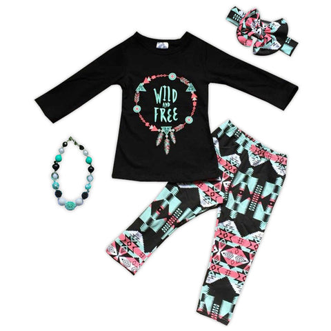 Wild Free Black Aztec Top Pant Set