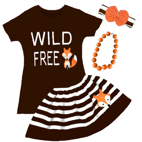 Wild Free Fox Brown Stripe Top And Skirt