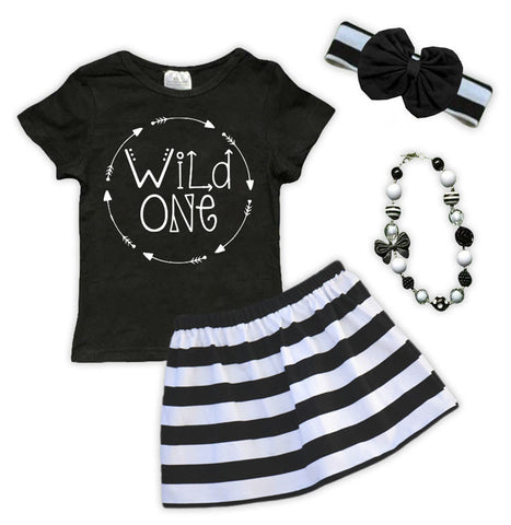 Wild One Black White Stripe Skirt Set