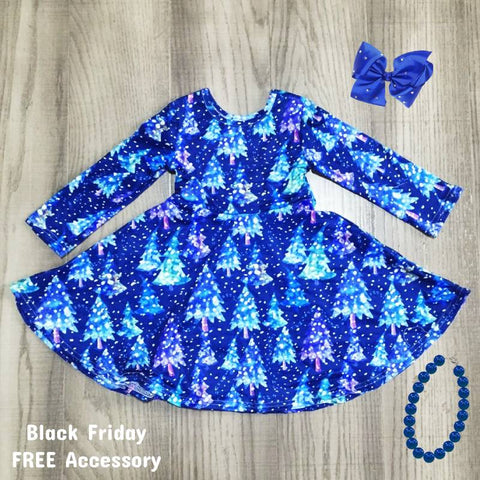 Winter Blue Snowflakes Trees Twirl Dress