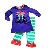Witch Boots Outfit Green Stripe Polka Dot Top And Pants