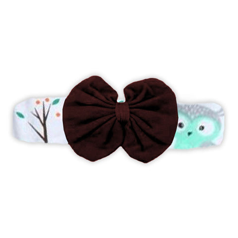 Woodland Brown Messy Bow Headband