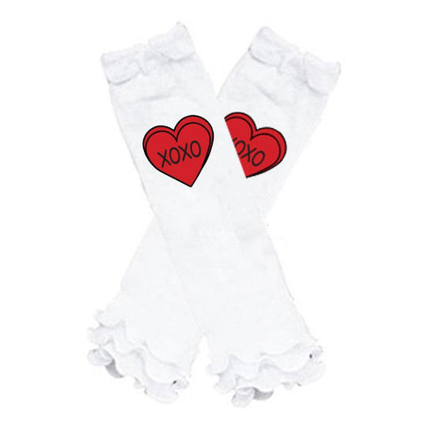 Xoxo Heart Leg Warmers Red White Ruffle