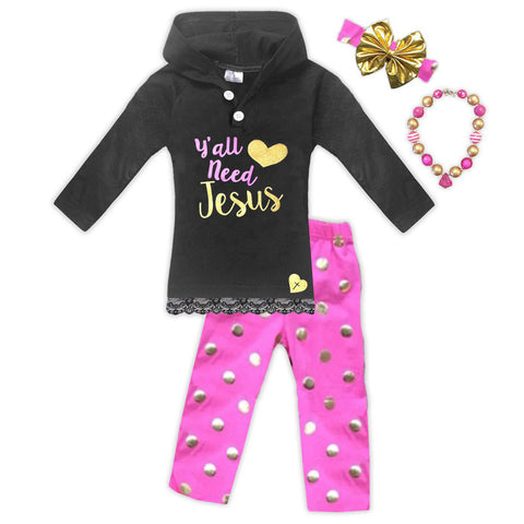 Yall Need Jesus Polka Hoodie And Pants
