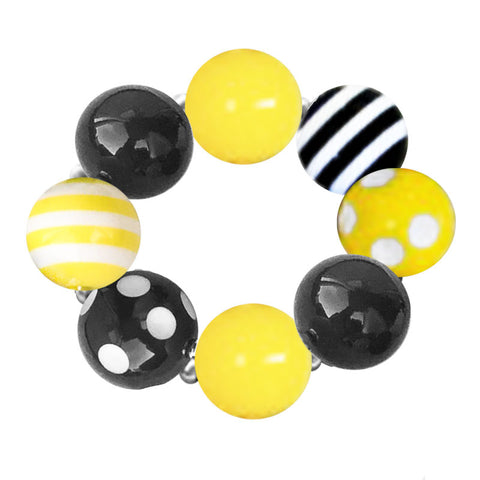 Yellow Black Stripe Polka Bow Bracelet