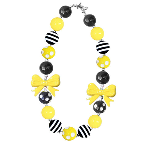Yellow Black Stripe Polka Bow Necklace