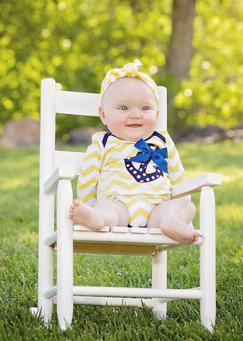Yellow Chevron Anchor Onesie