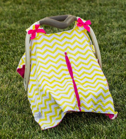 Yellow Chevron Hot Pink Minky Car Seat Canopy