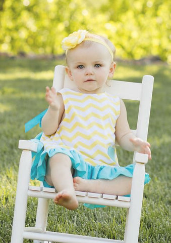 Yellow Chevron Teal Two Piece