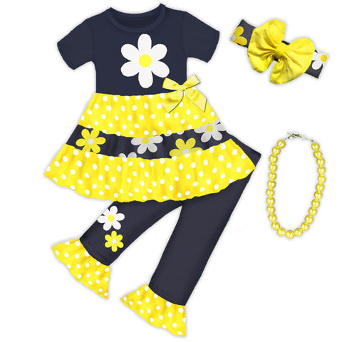 Yellow Daisy Tier Polka Top And Capri