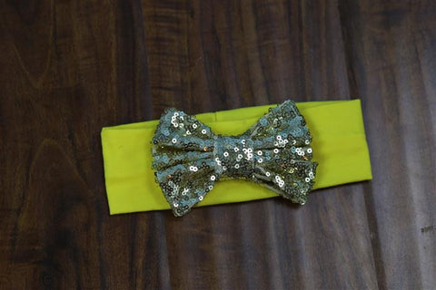 Yellow Gold Sequin Bow Head Wrap