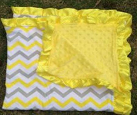 Yellow Gray Chevron Yellow Minky Blanket